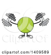 Clipart Of A Cartoon Tennis Ball Character Mascot Working Out With Dumbbells Royalty Free Vector Illustration by Hit Toon
