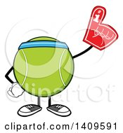 Clipart Of A Cartoon Tennis Ball Character Mascot Wearing A Headband And A Foam Finger Royalty Free Vector Illustration