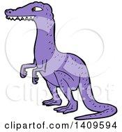 Clipart Of A Cartoon Purple Velociraptor Dinosaur Royalty Free Vector Illustration by lineartestpilot