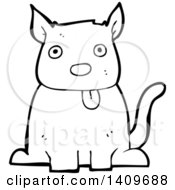 Cartoon Black And White Lineart Dog