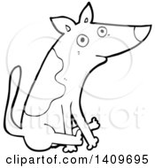 Clipart Of A Cartoon Black And White Lineart Dog Scooting His Butt On The Floor Royalty Free Vector Illustration