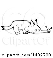 Clipart Of A Cartoon Black And White Lineart Dog Sniffing Royalty Free Vector Illustration