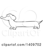 Clipart Of A Cartoon Black And White Lineart Dachshund Dog Royalty Free Vector Illustration