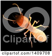 3d Termite On A Black Background