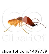 Clipart Of A 3d Termite In Profile On A White Background Royalty Free Illustration by Leo Blanchette