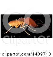 Clipart Of A 3d Termite In Profile On A Black Background Royalty Free Illustration by Leo Blanchette