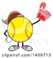 Cartoon Female Softball Character Mascot Wearing A Foam Finger