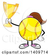 Cartoon Female Softball Character Mascot Holding A Trophy