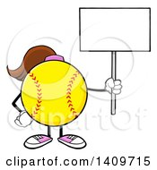 Cartoon Female Softball Character Mascot Holding Up A Blank Sign