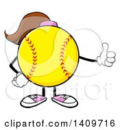 Cartoon Female Softball Character Mascot Giving A Thumb Up