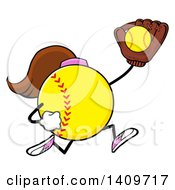 Cartoon Female Softball Character Mascot Running And Catching A Ball