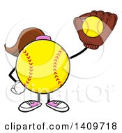 Cartoon Female Softball Character Mascot Catching A Ball