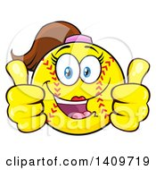 Cartoon Female Softball Character Mascot Giving Two Thumbs Up