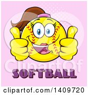 Cartoon Female Softball Character Mascot Giving Two Thumbs Up Over Text On Pink