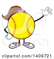 Cartoon Female Softball Character Mascot Waving