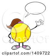 Cartoon Female Softball Character Mascot Talking And Waving