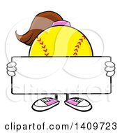 Cartoon Female Softball Character Mascot Holding A Blank Sign