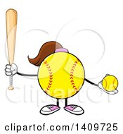 Cartoon Female Softball Character Mascot Holding A Bat And Ball