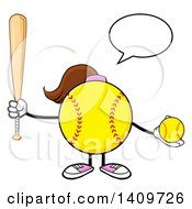 Cartoon Female Softball Character Mascot Talking Holding A Bat And Ball