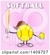 Cartoon Female Softball Character Mascot Holding A Bat And Ball With Text On Pink