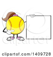 Cartoon Female Softball Character Mascot Holding And Pointing To A Blank Sign