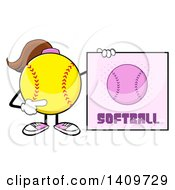 Cartoon Female Softball Character Mascot Holding A Sign