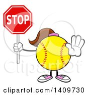 Cartoon Female Softball Character Mascot Gesturing And Holding A Stop Sign