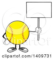 Clipart Of A Cartoon Male Softball Character Mascot Holding Up A Blank Sign Royalty Free Vector Illustration by Hit Toon
