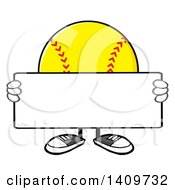 Cartoon Male Softball Character Mascot Holding A Blank Sign