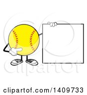 Cartoon Male Softball Character Mascot Holding And Pointing To A Blank Sign