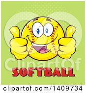 Cartoon Male Softball Character Mascot Giving Two Thumbs Up Over Text On Green