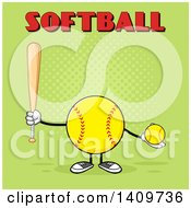 Cartoon Male Softball Character Mascot Holding A Bat And Ball With Text On Green