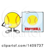 Cartoon Male Softball Character Mascot Holding A Sign