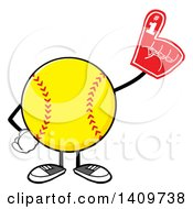 Clipart Of A Cartoon Male Softball Character Mascot Wearing A Foam Finger Royalty Free Vector Illustration