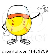 Cartoon Male Softball Character Mascot Wearing A Cap And Waving
