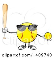 Cartoon Male Softball Character Mascot Wearing Sunglasses Holding A Bat And Ball