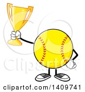 Cartoon Male Softball Character Mascot Holding A Trophy