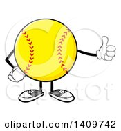 Clipart Of A Cartoon Male Softball Character Mascot Giving A Thumb Up Royalty Free Vector Illustration by Hit Toon