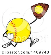Cartoon Male Softball Character Mascot Running And Catching A Ball