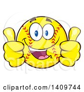 Clipart Of A Cartoon Male Softball Character Mascot Giving Two Thumbs Up Royalty Free Vector Illustration by Hit Toon