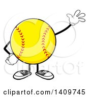 Clipart Of A Cartoon Male Softball Character Mascot Waving Royalty Free Vector Illustration by Hit Toon