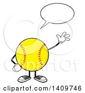 Clipart Of A Cartoon Male Softball Character Mascot Talking And Waving Royalty Free Vector Illustration by Hit Toon