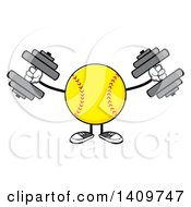 Clipart Of A Cartoon Male Softball Character Mascot Working Out With Dumbbells Royalty Free Vector Illustration by Hit Toon