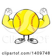 Cartoon Male Softball Character Mascot Flexing His Muscles