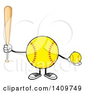 Cartoon Male Softball Character Mascot Holding A Bat And Ball