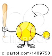 Clipart Of A Cartoon Male Softball Character Mascot Talking Holding A Bat And Ball Royalty Free Vector Illustration by Hit Toon