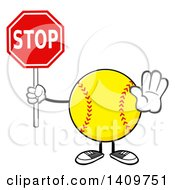 Cartoon Male Softball Character Mascot Gesturing And Holding A Stop Sign