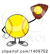 Cartoon Male Softball Character Mascot Catching A Ball