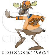 Cartoon Clipart Of A Moose Football Player Royalty Free Vector Illustration by djart