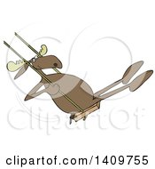 Cartoon Clipart Of A Moose Playing On A Swing Royalty Free Vector Illustration
